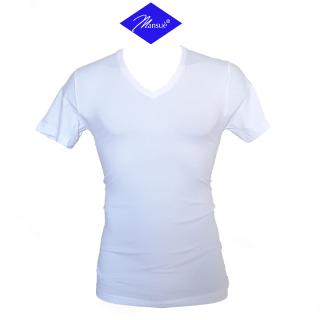 Mansuè Maglietta Uomo in cotone elasticizzato manica corta scollo V ART.40095 Bianco-Nero