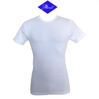 Mansuè Maglietta Uomo in cotone elasticizzato manica corta girocollo ART.40101 Bianco-Nero