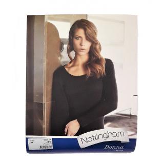 Nottingham T-shirt  Donna Manica  Lunga in Caldo Cotone Felpato  ART.NUVOLA.B-N ( BIANCO-NERO )