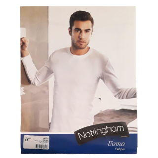 Nottingham T-shirt Uomo Manica Lunga a Girocollo in Caldo Cotone Felpato  ART.JAZZ.B ( BIANCO )