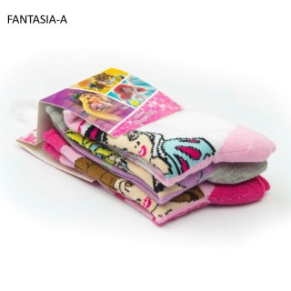Calzini da bambina Principesse Disney in cotone elasticizzato spugnoso QE4769 (3 PEZZI)