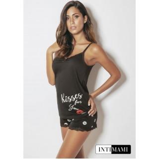 Intimami Completo Pigiama Top+pantaloncino corto donna in cotone estivo ART.ID360 NERO - BLU