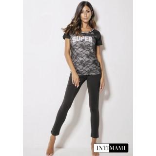 Intimami Completo Pigiama T-shirt+leggings lungo donna in cotone ART.ID352 NERO - CIPRIA