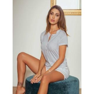 Pigiama Jadea home 3085 estivo corto donna in cotone modal rigato AZZURRO - GRIGIO