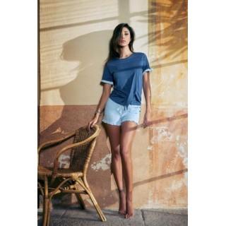 Pigiama Jadea home estivo corto donna con elegante fantasia in cotone ART.3071 BIANCO - BLU