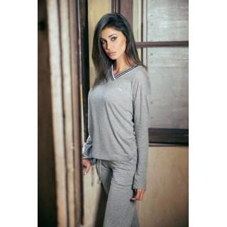 Pigiama Jadea home estivo tuta donna in cotone modal ART.3064 GRIGIO - GRIGIO/KAKI