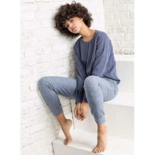 Pigiama Jadea home 5110 invernale donna lungo caldo cotone (JEANS)