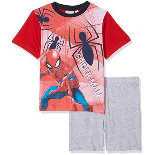 Marvel Pigiama Bambino Spiderman t-Shirt e Pantaloncino in Cotone Stampato 2817