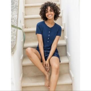 Pigiama donna corto Jadea Home t-shirt pantaloncino art. 3103 blu