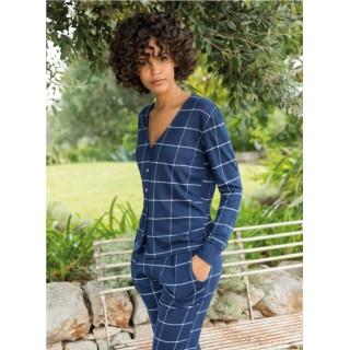 Pigiama donna lungo cotone primaverile Jadea 3101 blu-salvia