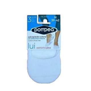 Pompea salvapiede Uomo in cotone elasticizzato con antiscivolo in silico (Tripack) BIANCO-NERO-NUDO