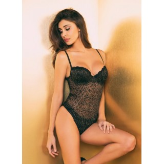Body sexy Jadea Galà 4035 in tulle e inserti lurex dorato
