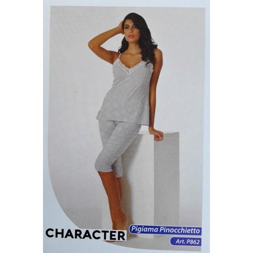 3c160bb70b64 Pigiama Character donna top+pinocchietto in cotone ART.P862